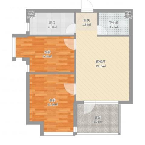 宏发三千院2室2厅1卫1厨69.00㎡户型图