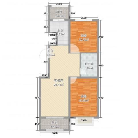 奥林星城五期2室2厅1卫1厨96.00㎡户型图
