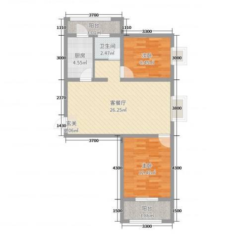 奥林星城五期2室2厅1卫1厨91.00㎡户型图