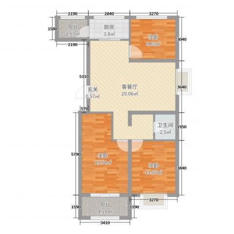 奥林星城五期3室2厅1卫1厨97.00㎡户型图