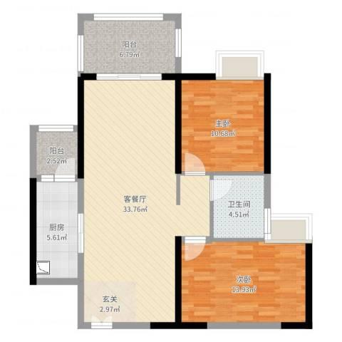 广州亚运城天誉2室2厅1卫1厨97.00㎡户型图