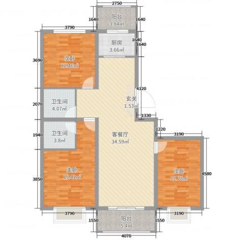 奥林星城五期3室2厅2卫1厨120.00㎡户型图