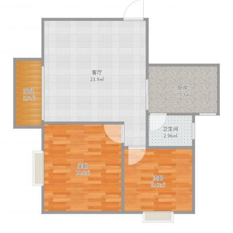 万丰花园2室1厅1卫1厨77.00㎡户型图