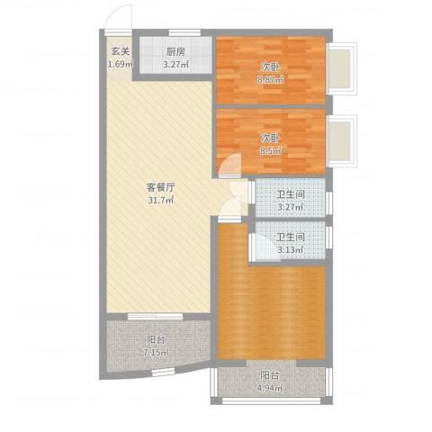 铁湖书院2室2厅2卫1厨103.00㎡户型图