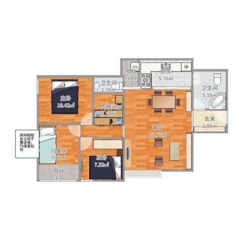 新新家园CD栋BCFG户型3室1厅2卫1厨91.00㎡户型图
