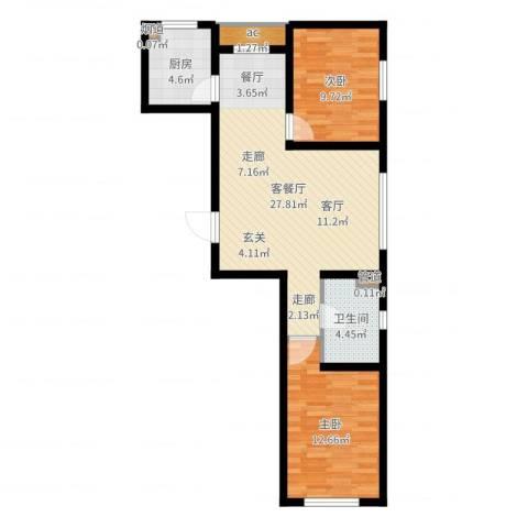 金色玺园2室2厅1卫1厨76.00㎡户型图