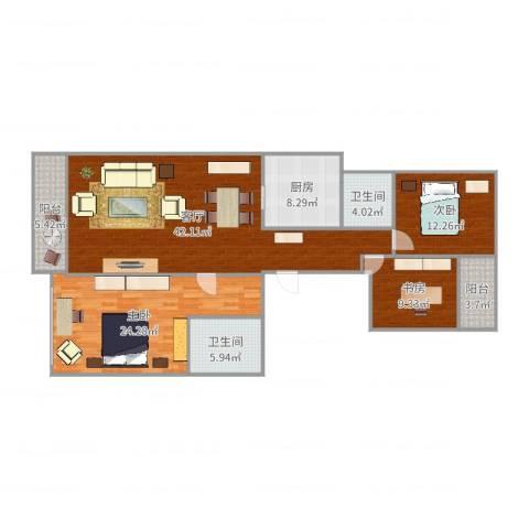 柏悦公馆3室1厅2卫1厨144.00㎡户型图
