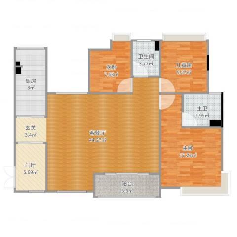 大朗美爵花园3室2厅1卫1厨133.00㎡户型图