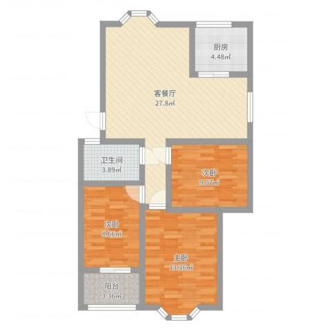 汇源华庭3室2厅1卫1厨88.00㎡户型图