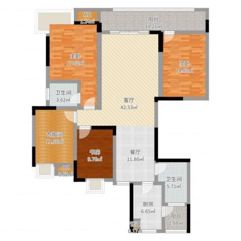 香格里拉3室1厅2卫1厨159.00㎡户型图