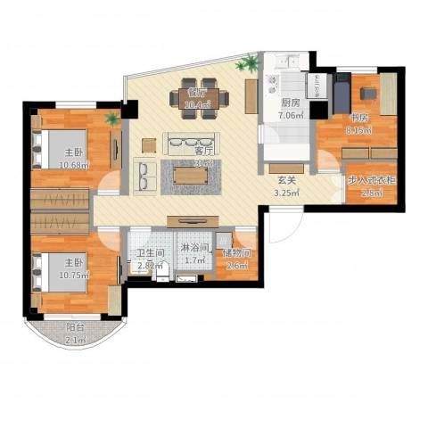 家景花园3室1厅1卫1厨100.00㎡户型图