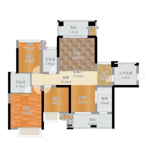 建曙高尔夫1号3室2厅2卫1厨127.00㎡户型图
