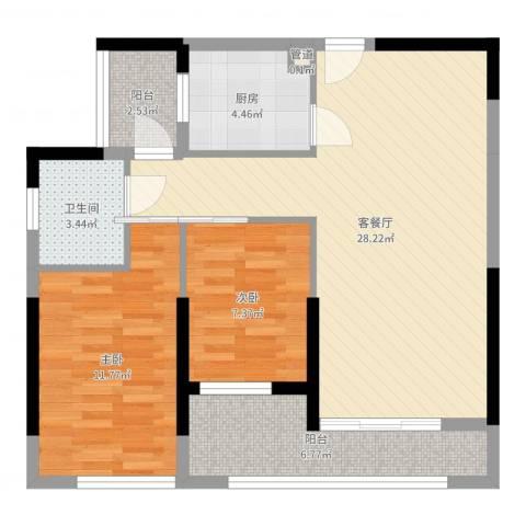 中惠阳光国际商城2室2厅1卫1厨81.00㎡户型图