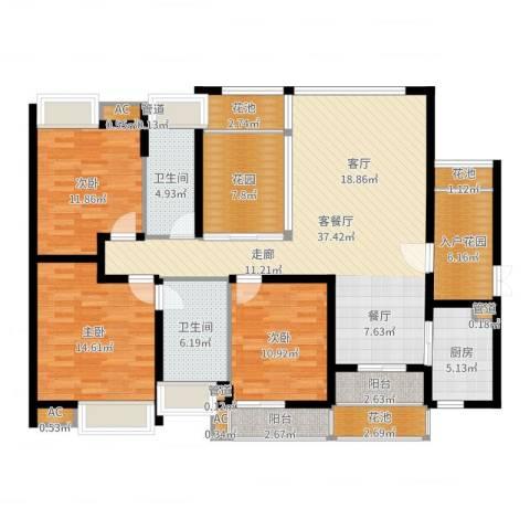 中海胥江府3室2厅2卫1厨148.00㎡户型图