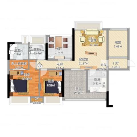 九鼎国际城公寓2室1厅2卫1厨126.00㎡户型图