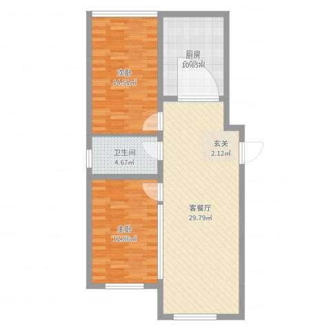 光伸卧龙港湾2室2厅1卫1厨89.00㎡户型图