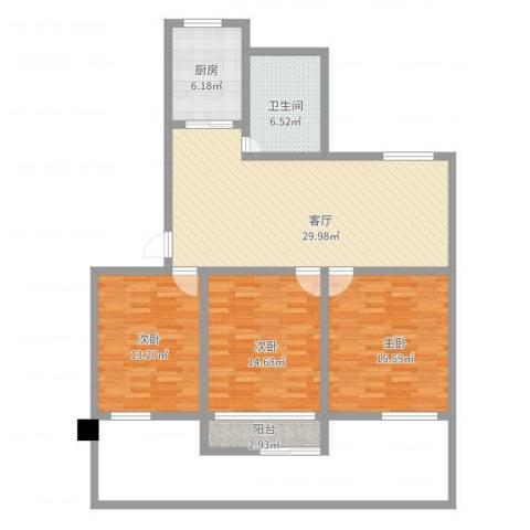 香格里拉花园3室1厅1卫1厨127.00㎡户型图