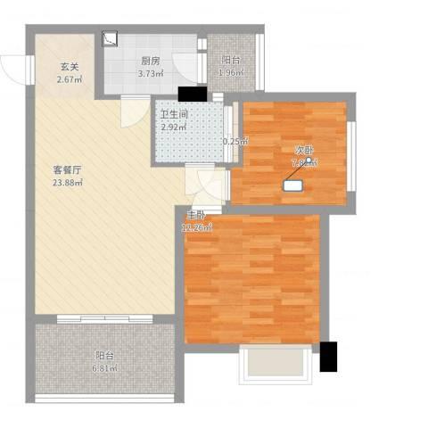 中国水电海赋外滩2室2厅1卫1厨69.50㎡户型图