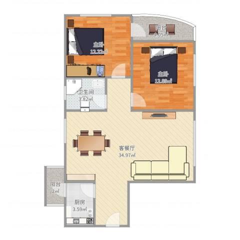 莲花广场94平2室2厅1卫1厨92.00㎡户型图