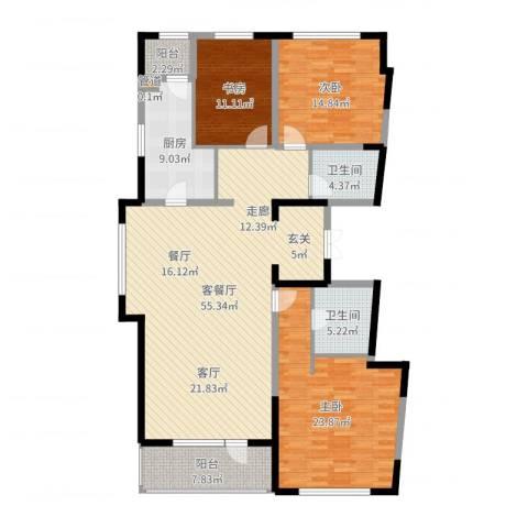 万科柏翠园3室2厅2卫1厨167.00㎡户型图