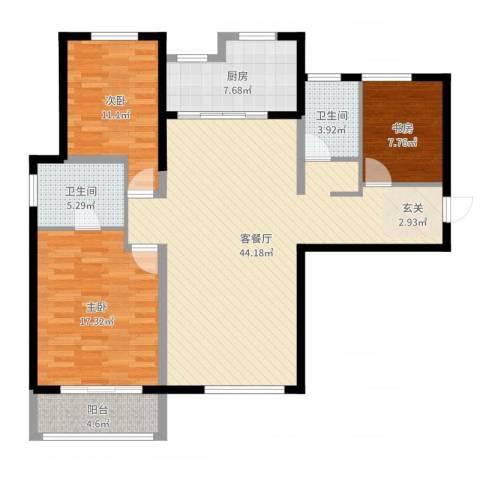 红星海青屿蓝3室2厅2卫1厨127.00㎡户型图