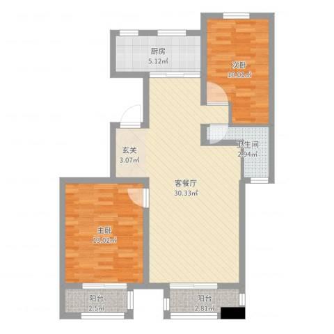 通辽檀香湾2室2厅1卫1厨83.00㎡户型图