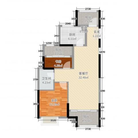 开投置业公元世家2室2厅1卫1厨90.00㎡户型图