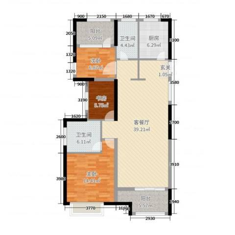 开投置业公元世家3室2厅2卫1厨117.00㎡户型图