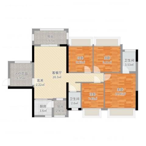 正德天水湖4室2厅2卫1厨116.00㎡户型图