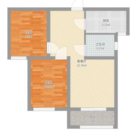 大通君澜2室2厅1卫1厨67.00㎡户型图