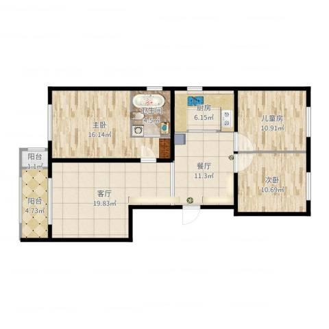乐亭县水韵名居12号楼4单元902室3室2厅1卫1厨107.00㎡户型图