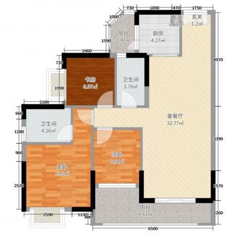 芙蓉春晓3室2厅2卫1厨104.00㎡户型图