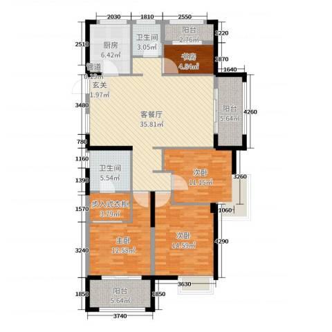开投置业公元世家4室2厅2卫1厨140.00㎡户型图