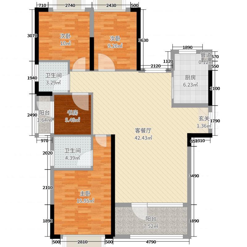 理公馆133.00㎡A1户型4室4厅2卫1厨