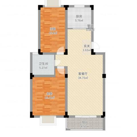 康城水云间2室2厅1卫1厨100.00㎡户型图