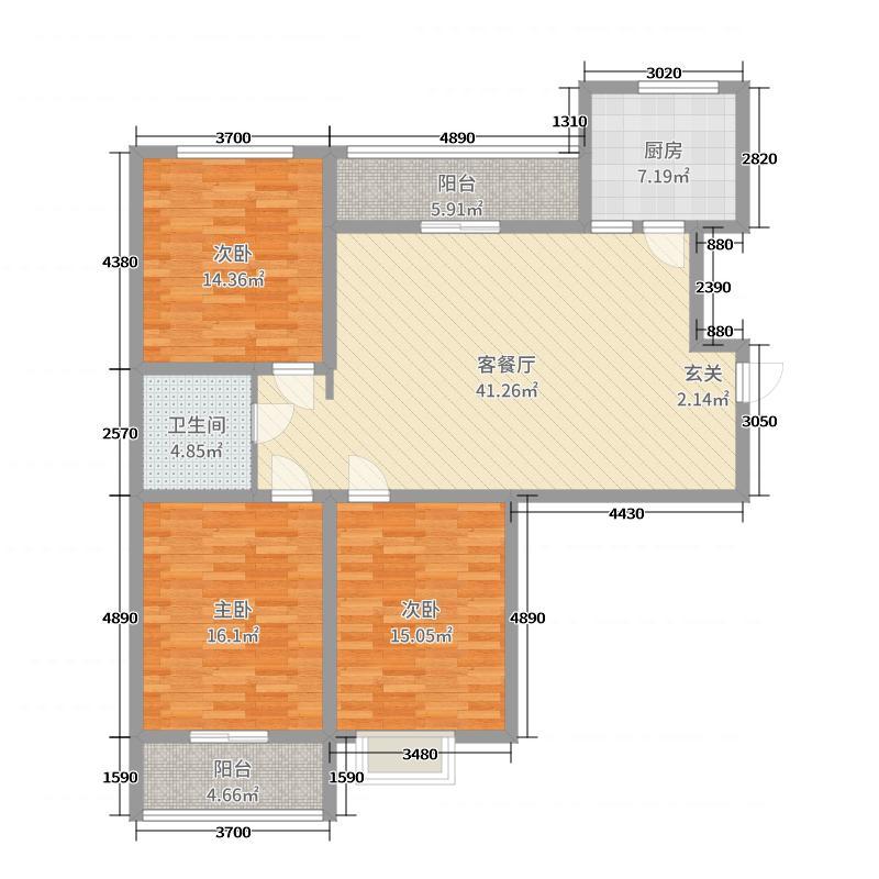 辰兴・优山美郡137.00㎡M2户型3室3厅1卫1厨