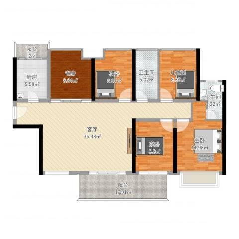 中洲天御5室1厅2卫1厨135.00㎡户型图