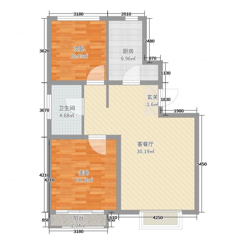 海尔地产・山海湾85.10㎡五期5#7-9#C1户型2室2厅1卫1厨