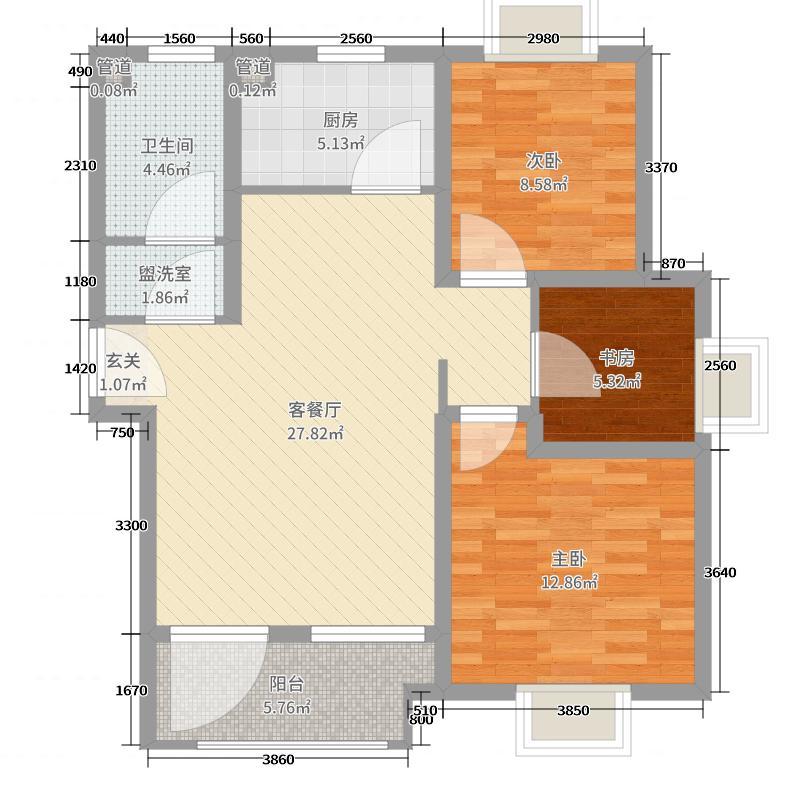 海尔地产・山海湾90.00㎡四期2#、4#A2户型3室3厅1卫1厨