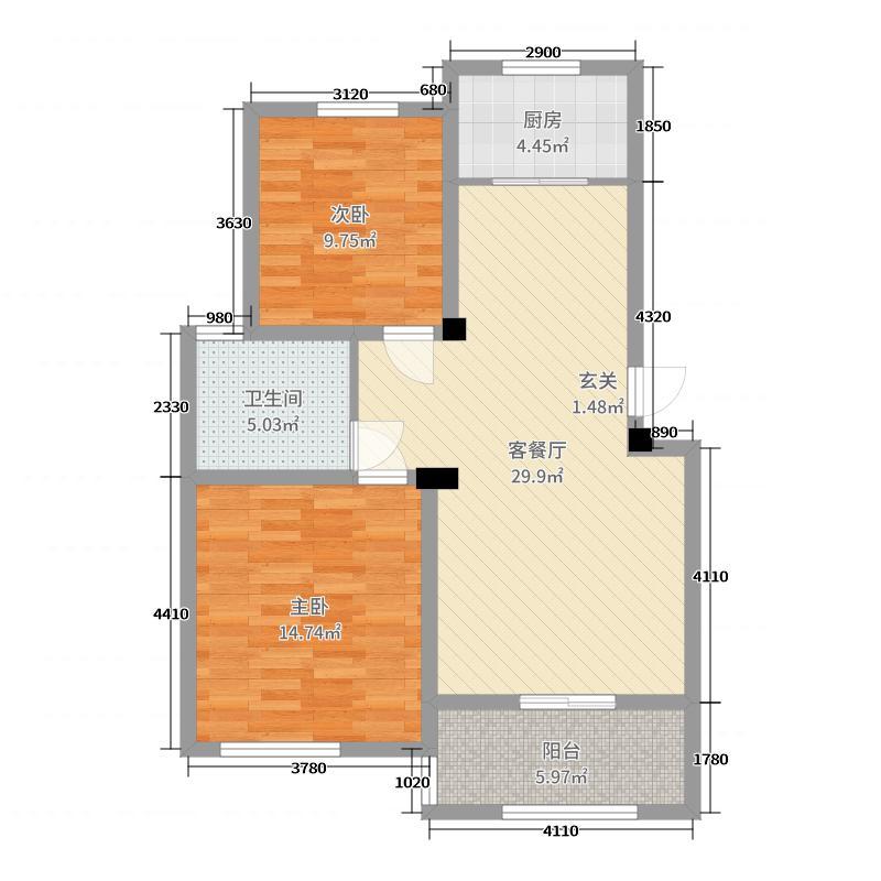 西城枫景88.00㎡6、10#楼中间套户型2室2厅1卫1厨