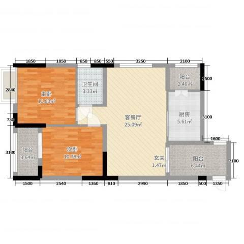 景泰花园2室2厅1卫1厨69.16㎡户型图