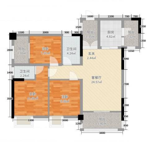 景泰花园3室2厅2卫1厨79.77㎡户型图