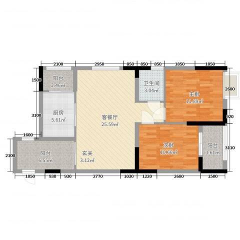 景泰花园2室2厅1卫1厨69.39㎡户型图