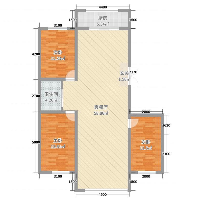 殊景天成144.83㎡户型3室3厅1卫1厨