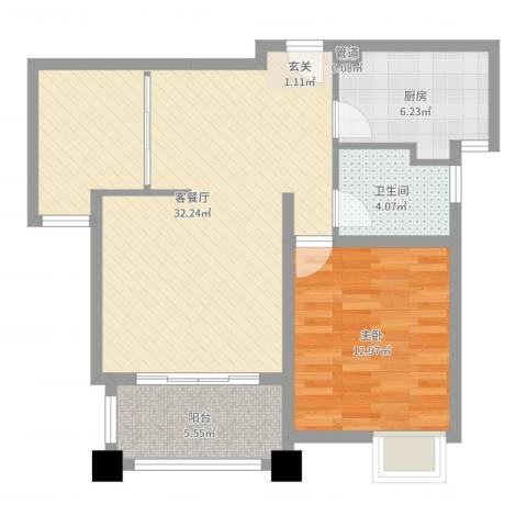 新城风尚1室2厅1卫1厨76.00㎡户型图