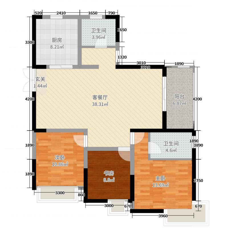 万达国际公馆136.00㎡户型3室3厅2卫1厨