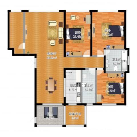 海鑫花园3室2厅2卫1厨203.00㎡户型图