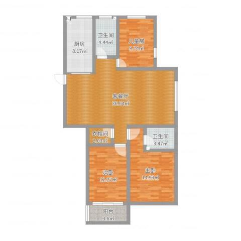 中达・名门世家3室2厅2卫1厨119.00㎡户型图