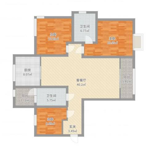 西青区新梅江锦绣里3室2厅2卫1厨106.76㎡户型图