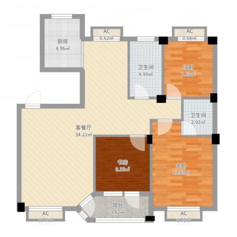 水尚阑珊3室2厅2卫1厨103.00㎡户型图